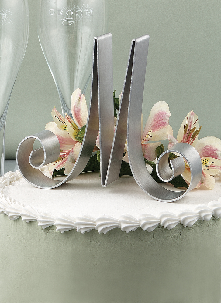 "Letter ""N"" Metal Letter Cake Top - 5"" Scroll"