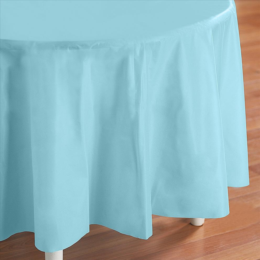 Light Blue Plastic Table Cover Round