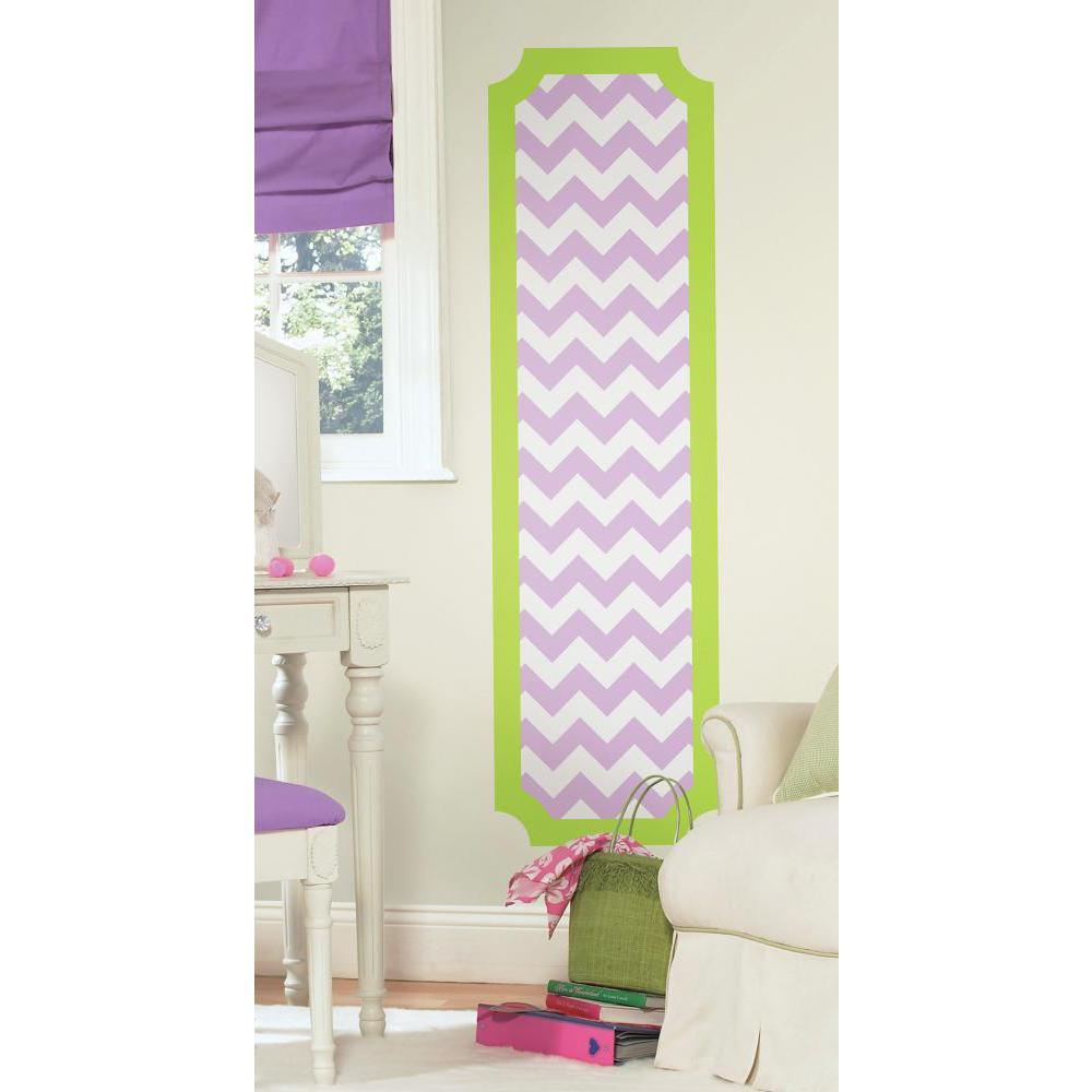 Lime and Lilac Chevron Deco Panel