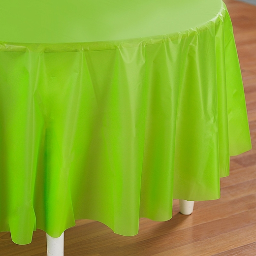 Lime Green Plastic Table Cover - Round