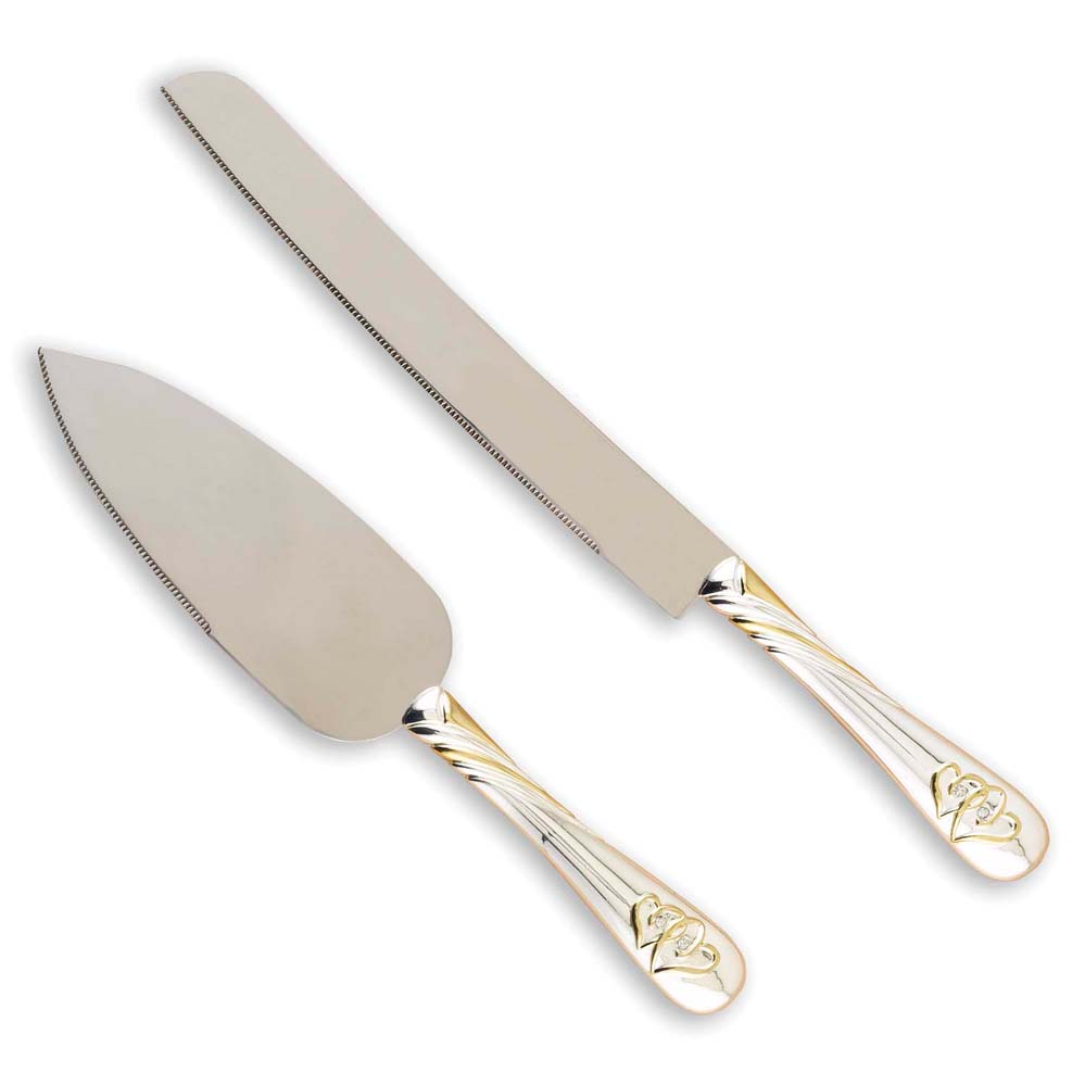 Linked at the Heart Gold Serving Set