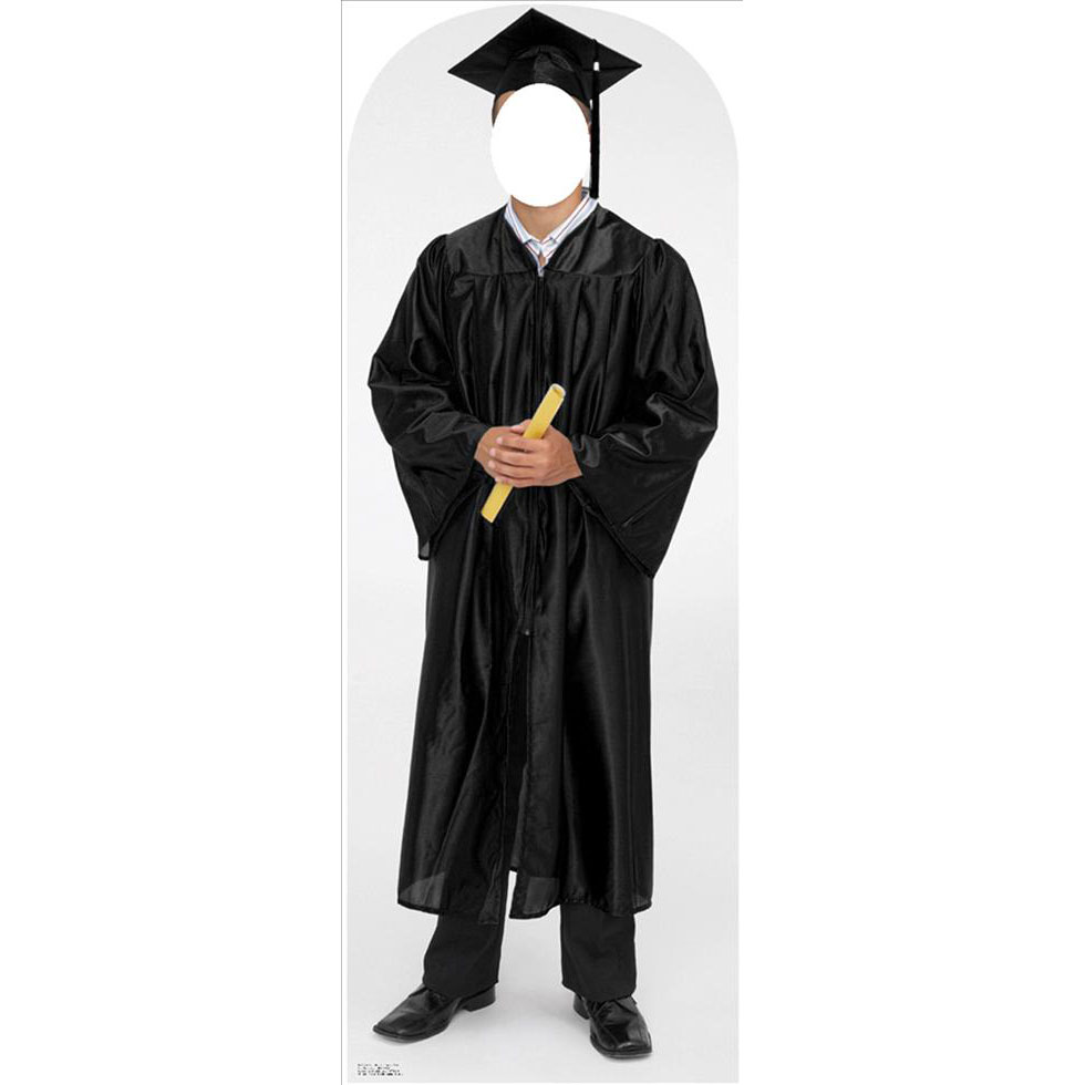 Male Graduate Black Cap And Gown Standin Lifesized Standup
