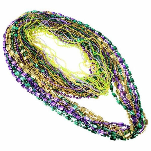 Mardi Gras Bead Necklaces Bulk Assortment - 100pcs