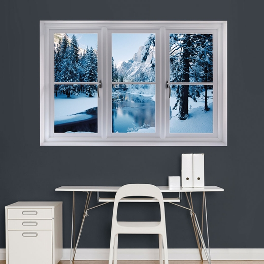 Merced River in Winter: Instant Window Wall Decal