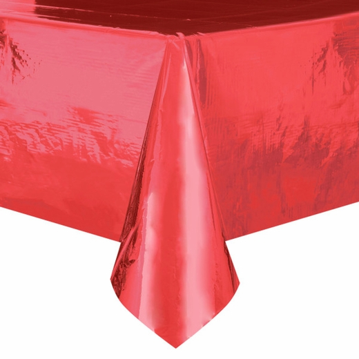 Metallic Red Plastic Table Cover - Rectangle