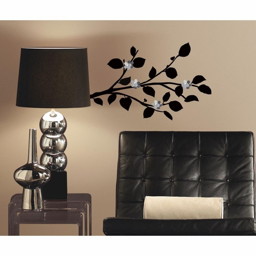 Modern Black Branch Decals-Bendable Flower Mirrors