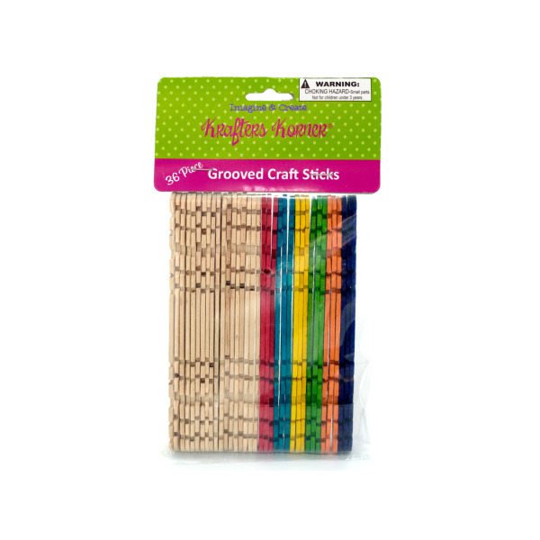 Multi-Color Grooved Craft Sticks