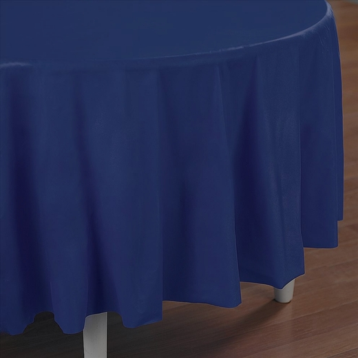 Navy Blue Plastic Table Cover - Round