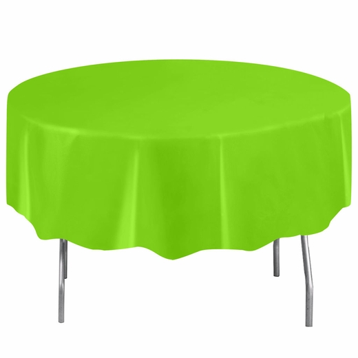 Neon Green Plastic Table Cover - Round