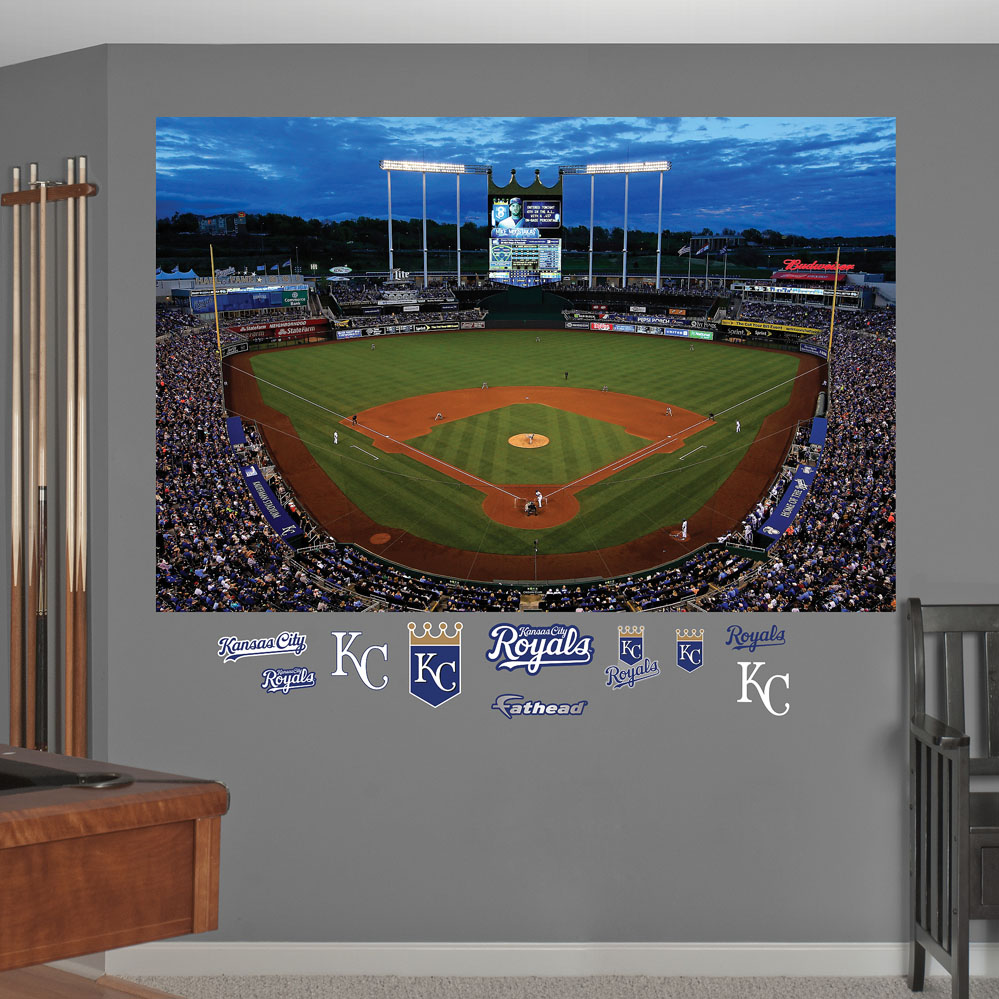 Night game kauffman stadium mural decals for Baseball stadium wall mural