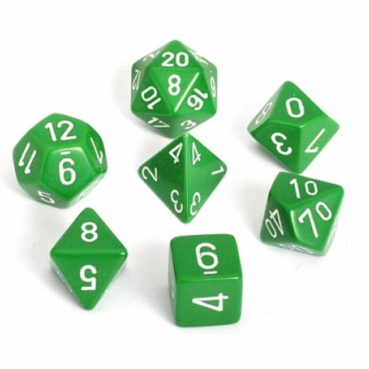 Opaque Green With White Polyhedral 7 Die Set