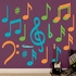 Orange Green Turquoise Musical Notes Wall Decal