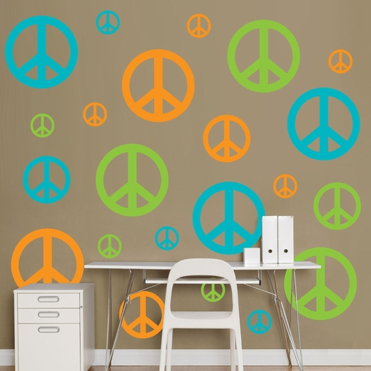Orange, Green And Turquoise Peace Signs Wall Decal