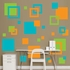 Orange, Green And Turquoise Squares Wall Decal