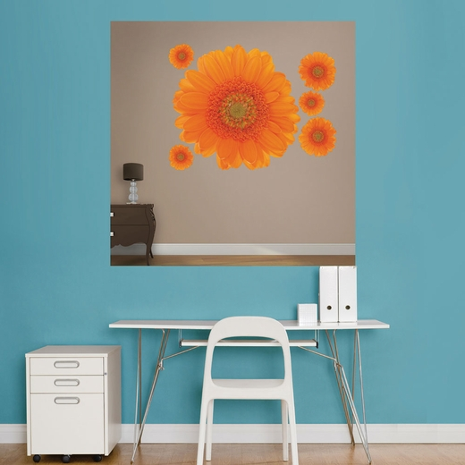 Orange Large Daisy REALBIG Wall Decal