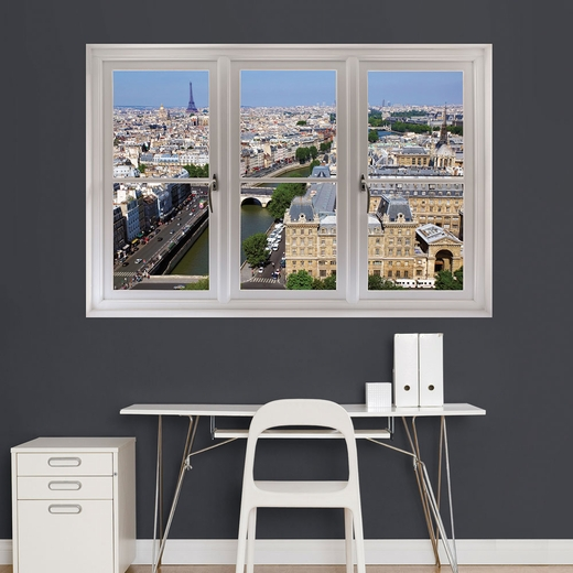 Paris Day Skyline Scenic Window REALBIG Wall Decal