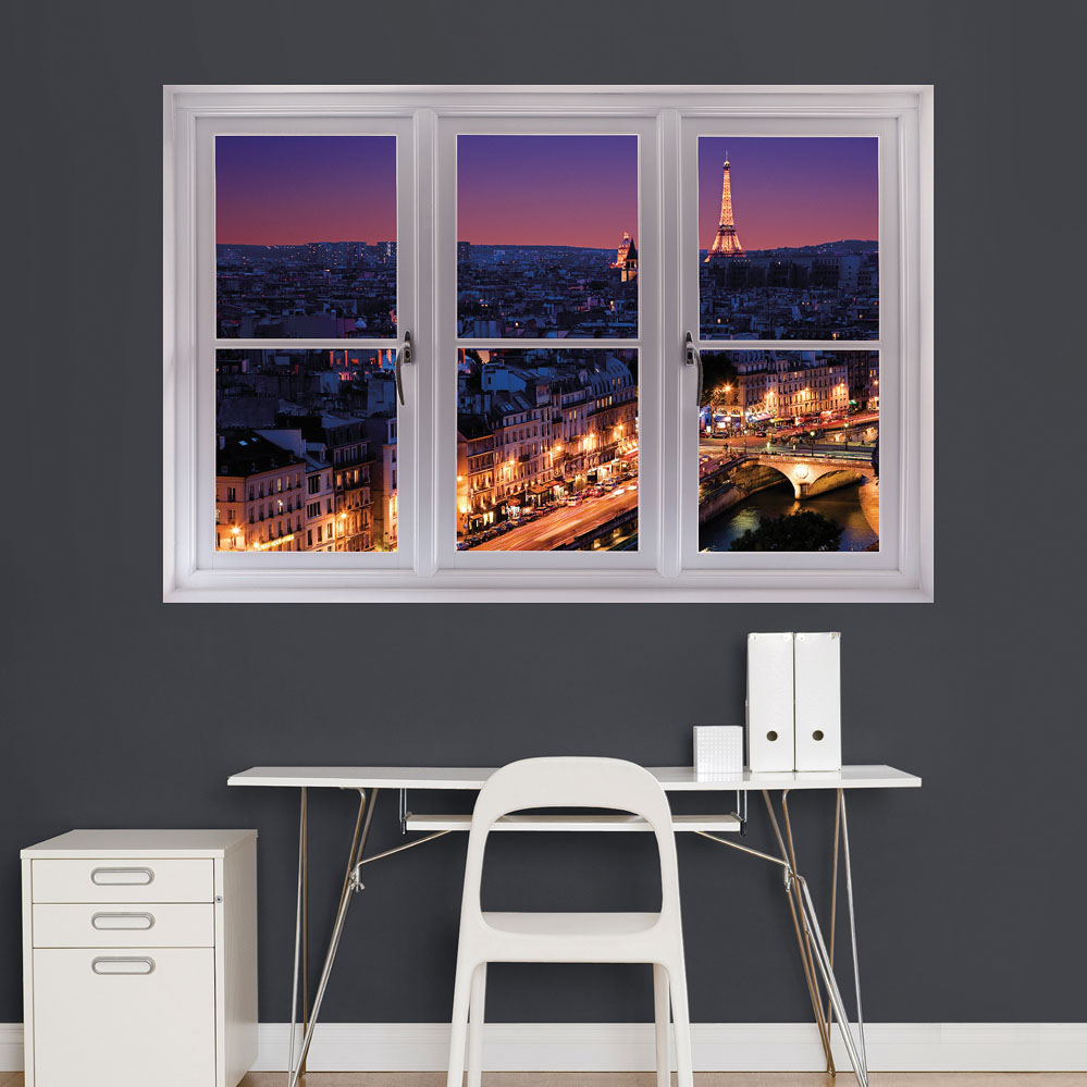 Paris Night Skyline Sceninc Window Wall Decal