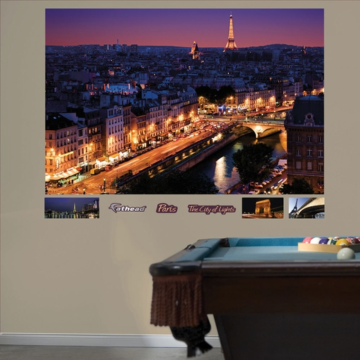 Paris Skyline By Night Mural REALBIG Wall Decal