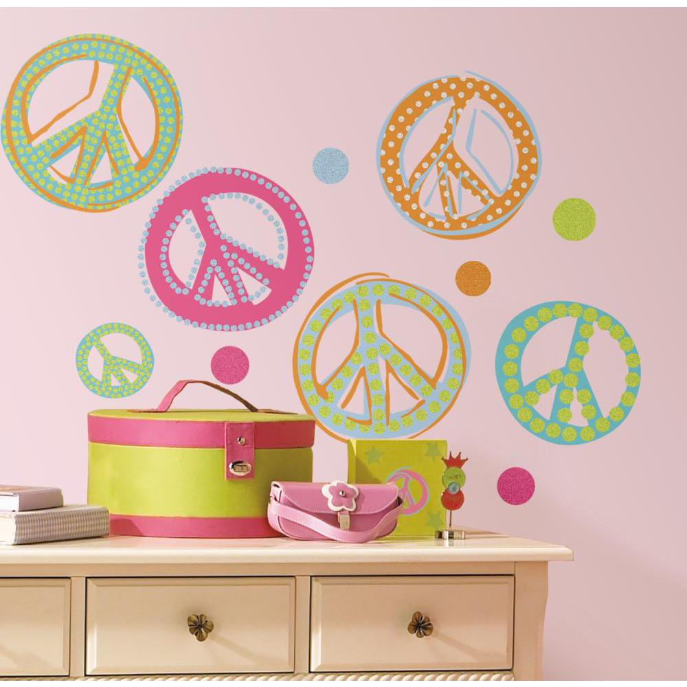 Peace Signs Peel And Stick Decal-Glitter