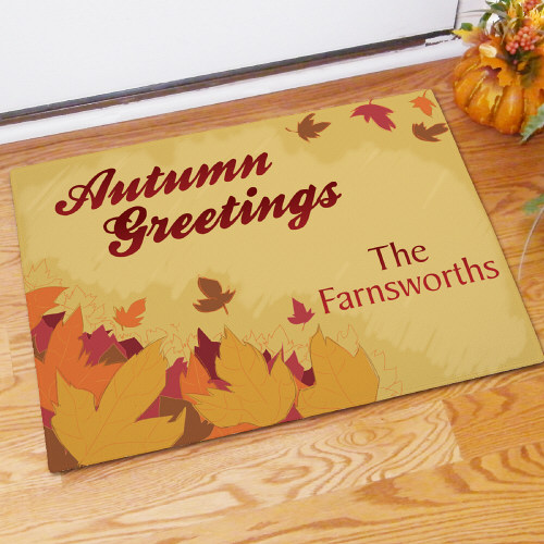 Personalized Autumn Greetings Doormat