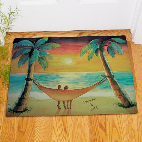 Personalized Beach Sunset Welcome Doormat