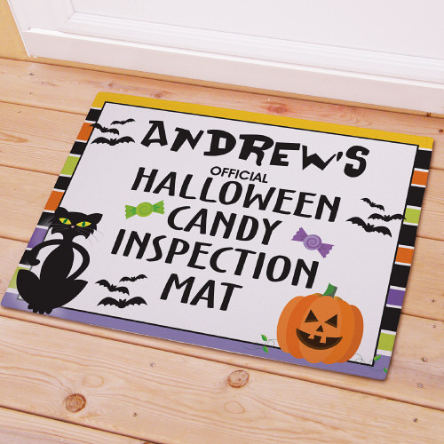 Personalized Halloween Candy Inspection Mat