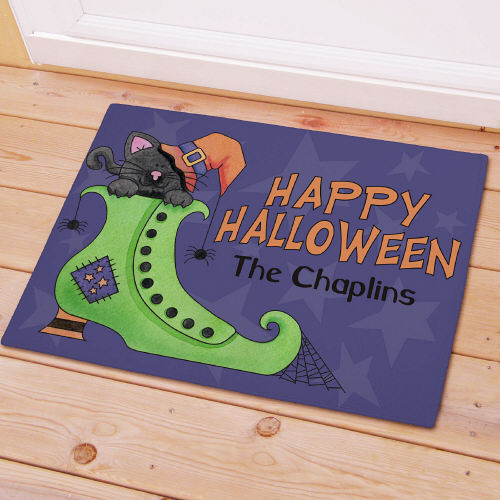 Personalized Happy Halloween Witch Boot Doormat