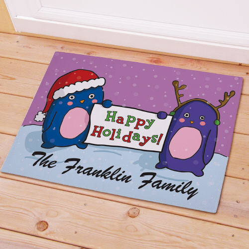 Personalized Happy Holidays Welcome Doormat