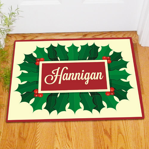 Personalized Holly Leaves And Berries Doormat