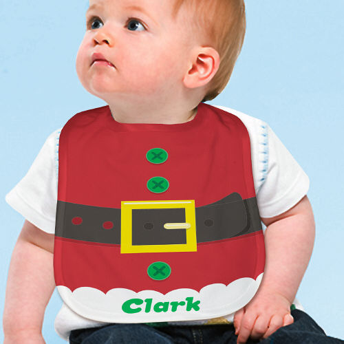 Personalized Santa Suit Baby Bib