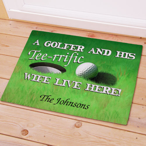 Personalized Tee-rrific Wife Golf Doormat