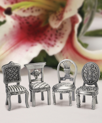 Pewter Chair Figurine Placecard Holders