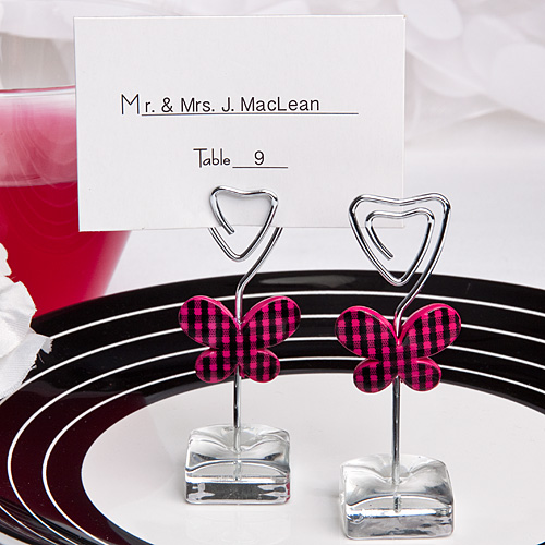 Pink Butterfly Design Place Card Photo Holders