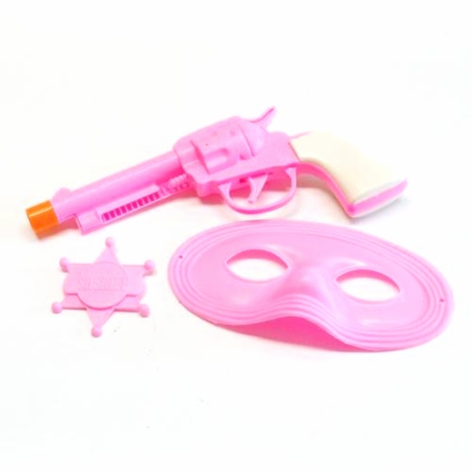 Pink Cowgirl Gun Set With Mask And Badge