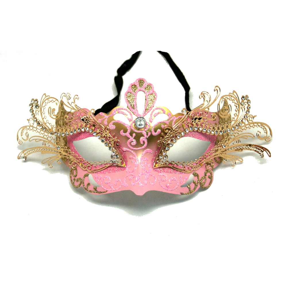 Pink Decorative Metal Venetian Half Mask
