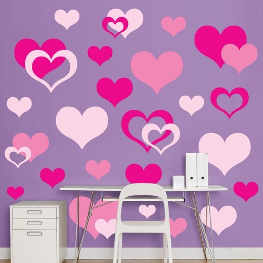 Pink Hearts REALBIG Wall Decal