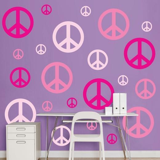 Pink Peace Signs REALBIG Wall Decal