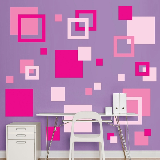 Pink Squares REALBIG Wall Decal
