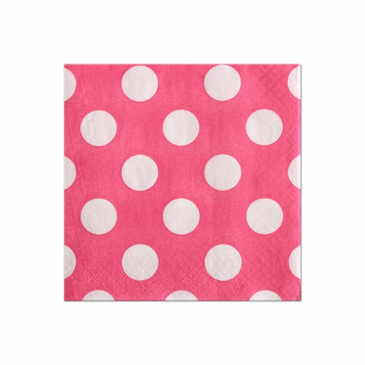 Pink With White Polka Dots Beverage Napkins