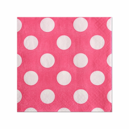 Pink With White Polka Dots Lunch Napkins