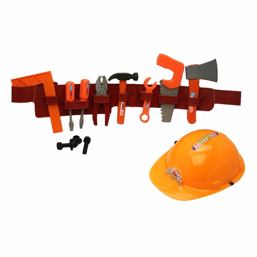 Play Tool Belt With Tools And Construction Helmet