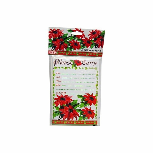 Poinsettia 8 Pack Invitations/Envelopes