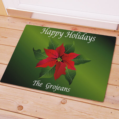 Poinsettia Holiday Personalized Doormat