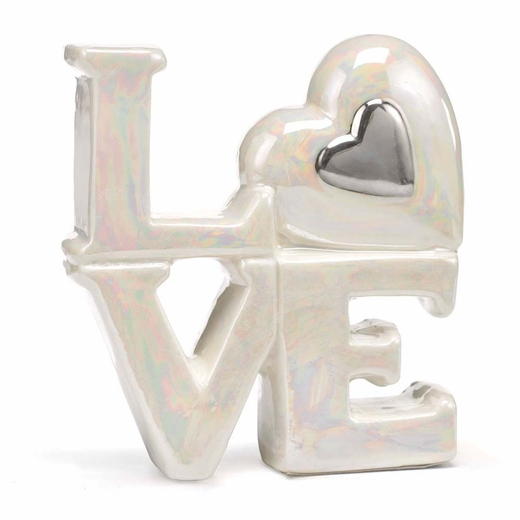 Porcelain Love Cake Tops - Silver