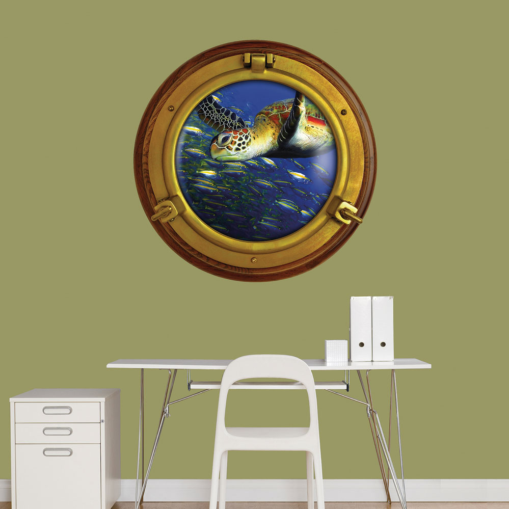 Porthole Sea Turtle Instant Window Wall Decal