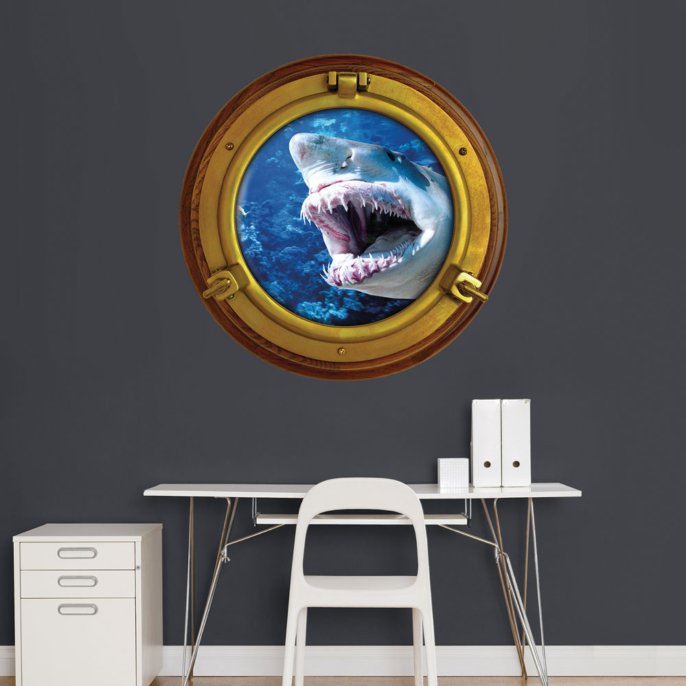 Porthole Shark Instant Window REALBIG Wall Decal