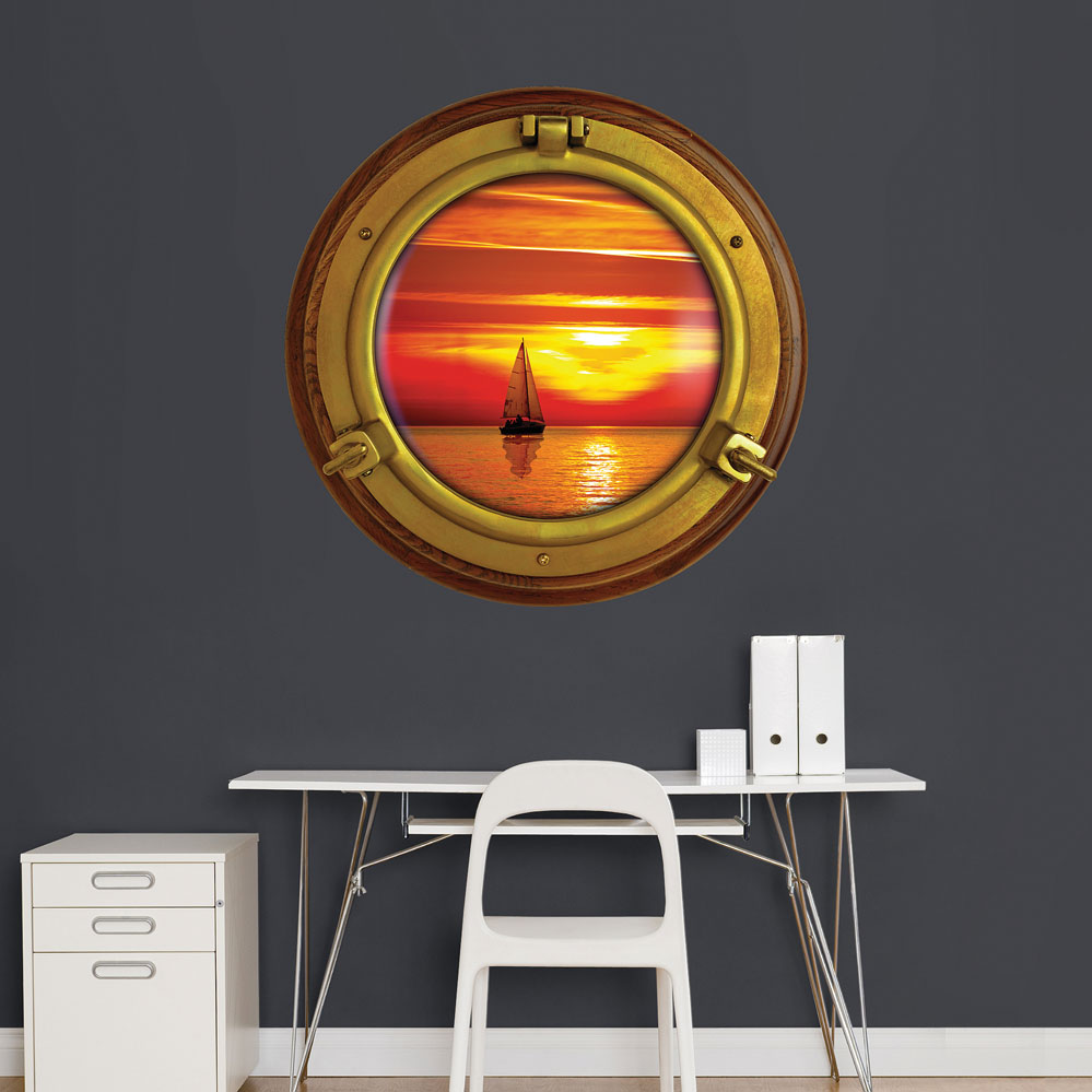 Porthole Sunset Sailboat Instant Window