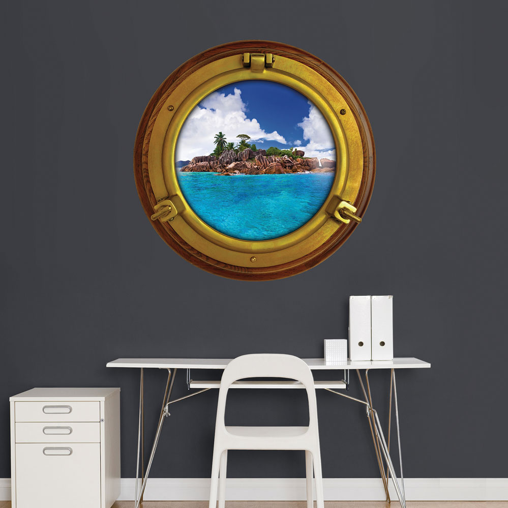Porthole Tropical Island Instant Window
