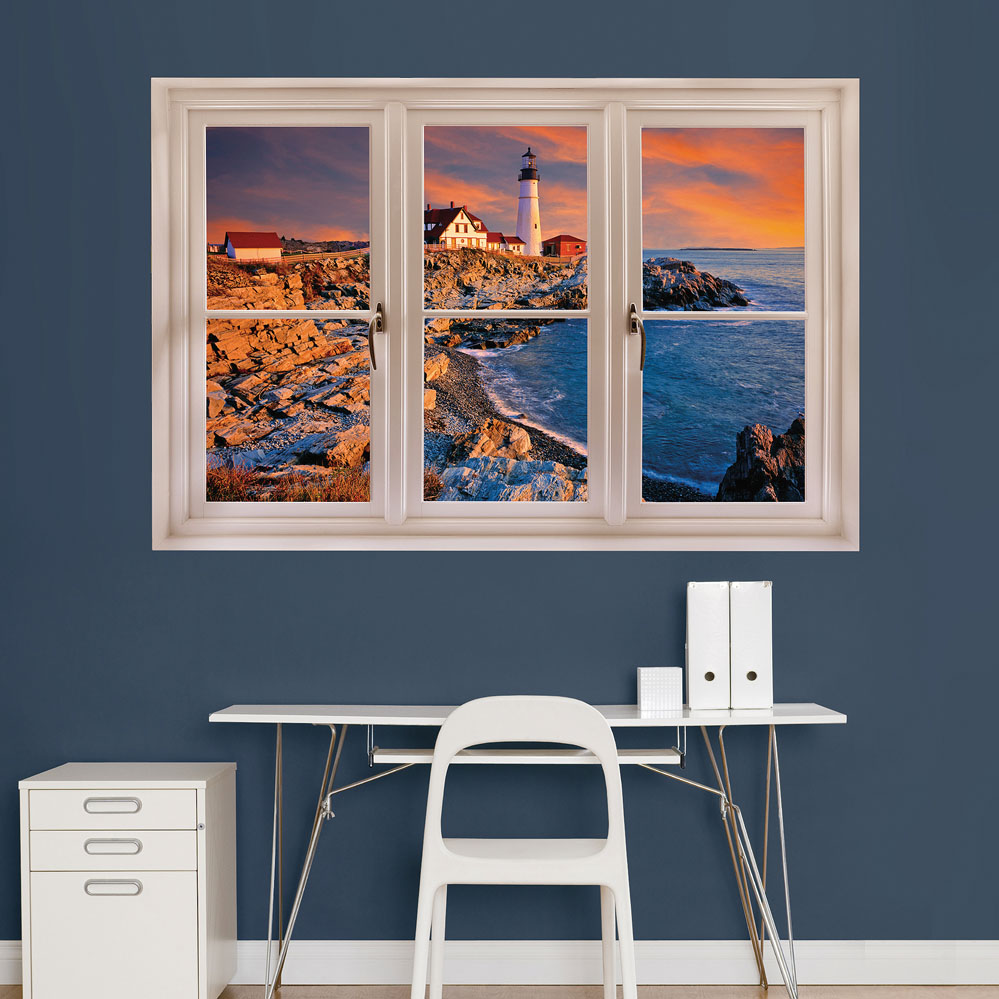 Portland, Maine Lighthouse: Instant WindowDecal