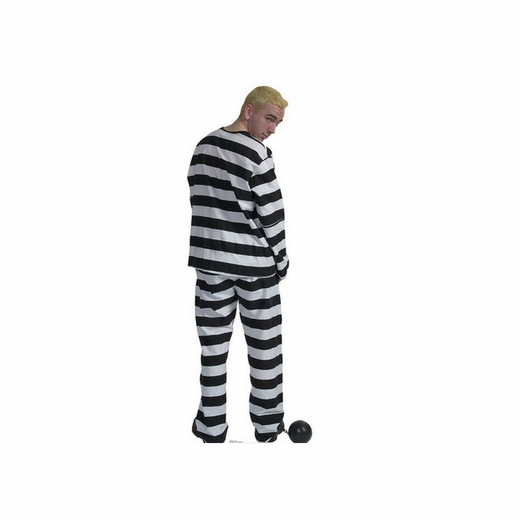 Prisoner in Striped Suit with Ball and Chain Cardboard Cutout